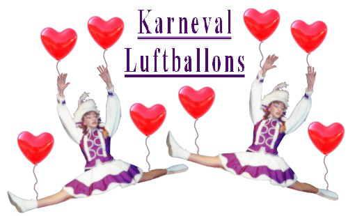 Tanzmariechen schweben mit Herzluftballons auf Karneval und Fasching